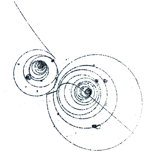 Classical trajectories of electrically charged particles in a bubble chamber.